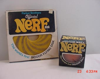 Vintage Official Nerf Disk & Ball In Original Boxes - World's First Indoor Flying Disk And Ball  17 - 891