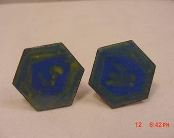 Vintage Enameled Copper Cuff Link Set  18 - 114
