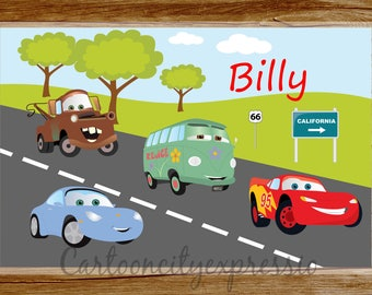 Personalized Placemat Cars