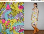 On SALE 45% Off - Vintage 1960s Novelty Neon Floral Frogs Flower Pastel Psychedelic Dress  -  1960s   Dresses  - 60s Frogs Novelty Print  Dr