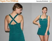 On SALE 45% Off - 1940s Jantzen Kelly Green Bombshell Swim Suit   - Vintage 40s Bathing Suit  - 40s Pinup One Piece Bathingsuit - WB0352