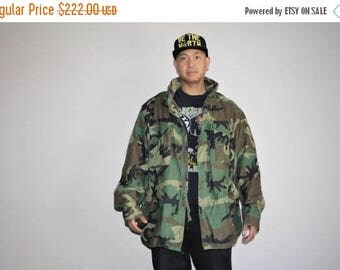 On SALE 35% Off - Men's Vintage 90s U.S. Army Camo Oversized Grunge Military Jacket - 1990s Vintage Kayne West Style Army Jackets - Mv0001