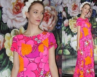 On SALE 35% Off - Hawaiian 1960s Psychedelic Pink and Orange Neon Floral Pin Up Bombshell Maxi Dress  - Vintage 60s Dress - 60s Clothing - W