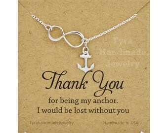 Infinity Anchor Lariat,Sterling silver or gold Y necklace,Hope Strength anchor,sideways Infinity,Figure eight.graduation gift,navy wife gift