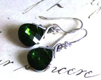 ON SALE Emerald Green Swarovski Briolette Crystal Earrings - Swarovski Crystal and Sterling Silver - Dark Green Crystal Earrings With Ivy Vi