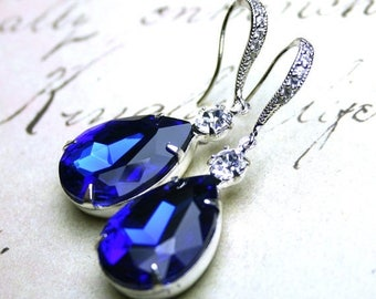 ON SALE Sapphire Blue Vintage Jeweled Earrings - Something Blue Bridal Earrings - Sterling Silver And CZ Earwires With Royal Blue And Clear