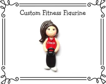 Custom Cold Porcelain Clay Fitness Figurine, Pendant Charm, Ornament, Bow Center, Magnet, Brooch, Kettlebell, Yoga, Pilates, Zumba, Jogger