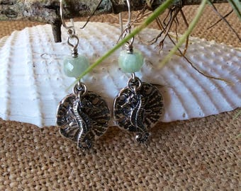 Sand Dollar & Seahorse Aquamarine Earrings, Beach Ocean Water Sea Shell Earrings March Birthstone