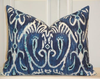DOUBLE SIDED - Duralee IKAT Decorative Pillow Cover - Throw Pillow - Accent Pillow - Navy Blue Cushion Cover