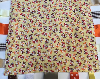Tagged Sensory Blanket  fox 12 x12 inch