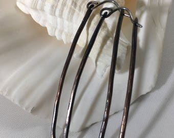 Antiqued, Distressed, Rectangular Copper and Sterling Silver Hoop Earrings-Bohemian Angles