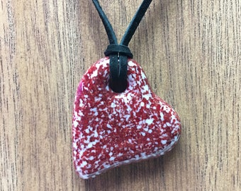 Heart Pendant, Fused Glass Necklace, Dark Red & White, Valentine's Day, Be Mine -Gifts Under 20 -5004