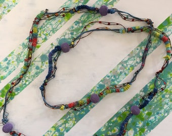 Sale - Colourful Material Necklace with Swarovski Crystals