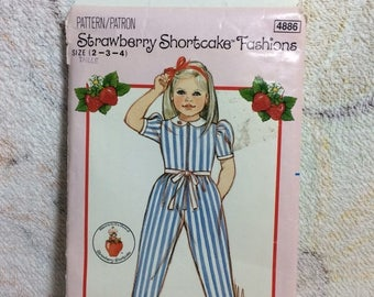 SUMMER SALE 80s Strawberry Shortcake Fashions size 2-3-4 Sewing Pattern for Girls Butterick 4886