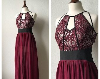 VALENTINE'S DAY vintage wine red sparkly chiffon evening dress ball gown sz S