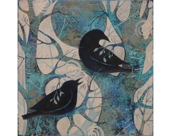 Crows,ravens, Painting on Canvas, Original art , nature theme, 12 x 12 inches,home decor