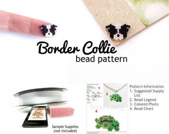 Border Collie Dog Delica Seed Bead Pattern