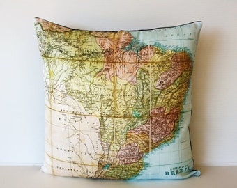 SALE SALE SALE Decorative throw pillow  map eco friendly Brazil map cushion, map pillow, cushion cover  organic cotton, 16 inch/ 41cm