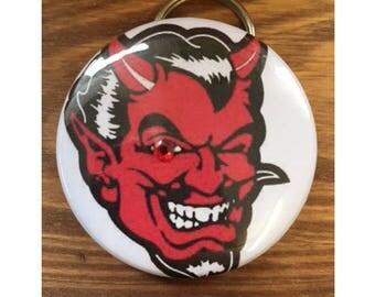 Red Devil Bottle Opener Key Chain Red Gem Smiling Cool Gift for Guy Mens