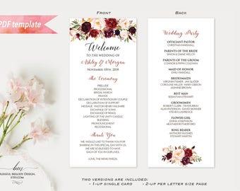 "Printable Burgundy Floral Double Sided Long Wedding Program, Editable 4x9"" Pink Ceremony Program Template, DIY Instant Download #01"