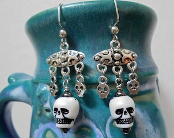 White, Black and Silver Skull Earrings (3784)