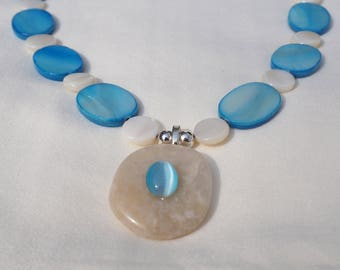 Blue Shell Necklace and Earrings Set, 20 inches