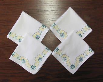 Four Vintage Yellow Green Blue Floral Print Cotton Tea Luncheon Napkins