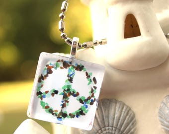 Peace Sign Sea Glass Pendant Square Necklace Key Chain Beach Sand Ocean keychain