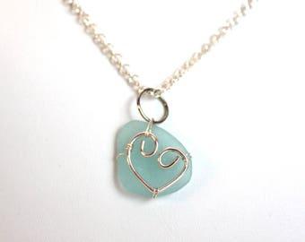 Aqua Blue Sea Glass Silver Heart  Necklace Beach Glass Pendant Valentine Love
