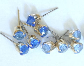 Vintage Swarovski Sapphire Blue Gold Prong Set 6mm Earring Posts  Studs (8)