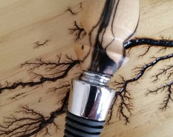 Handmade bottle stopper. Made from black and white ebony.  Great Christmas gift and free shipping..