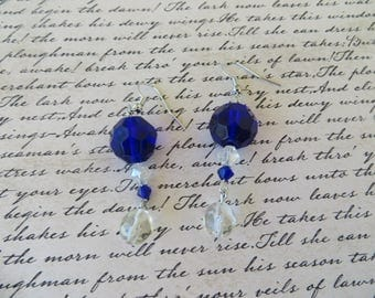 Royal Blue And Clear Crystal Dangling Earrings