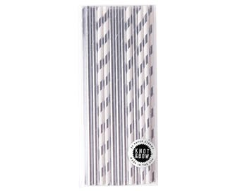 Premium Party Straws | Silver Mix | 24 pack