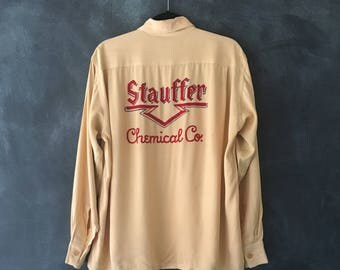 40s 50s Cream Ecru Gabardine Chain Stitched Americana Western Wear Botton Down Oxford Shirt Mens M
