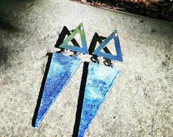 Denim Earrings- Steel and Denim Jeans Triangle