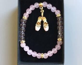 Beautiful enamel ballet shoe diamanté charm bracelet pink