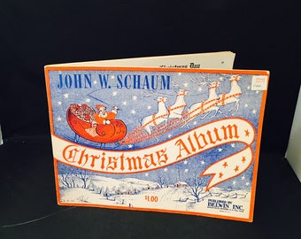 Christmas Album Song Book Arrangement By JW Schaum 1945 Vintage Christmas Carols