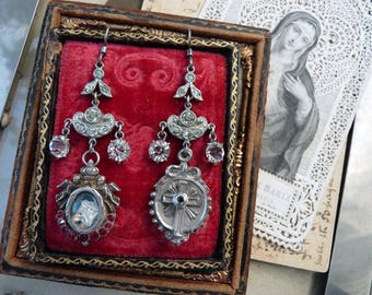 Antique French Miniature Reliquary Chandelier Earrings,Talismans for the Devotional, by RusticGypsyCreations