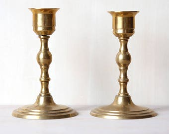 Two Brass Candle Holders - VIntage Chic Home Decor
