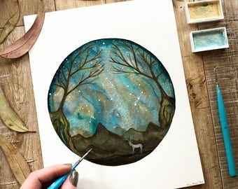 Celestial Watercolor // original painting // Fiona and the Night Forest