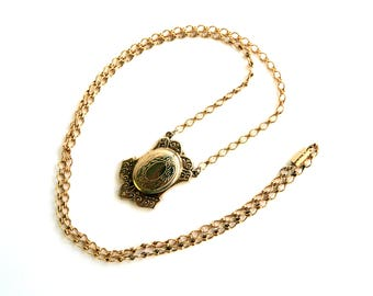 "Vintage Art Nouveau Etched Gold Oval Locket Necklace - 28"" Cable Chain - 1 1/2"" Pendant - Signed 1928"