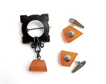 Vintage Art Deco Pressed Baltic Amber Pin and Cuff Link Set - Cufflinks Butterscotch Honey Latvian Amber - Wedding Groom Jewelry - Gift Set