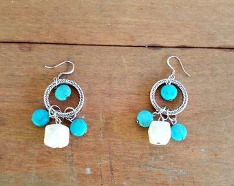 Turquoise Hoop Earrings Acrylic Turquoise White Glass Bead Earrings Chunky Bohemian Jewelry