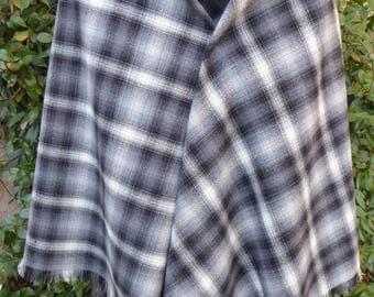 Black, gray and white plaid wool shawl, hand fringed