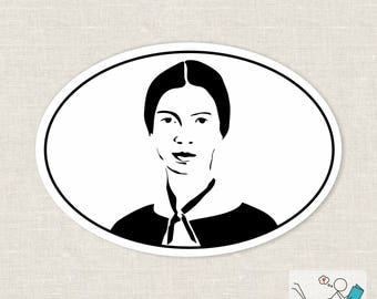 Emily Dickinson silhouette bumper sticker | laptop decal | all smooth surfaces sticker