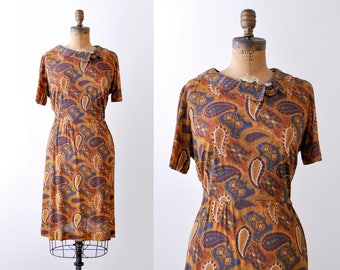 1960 orange paisley dress. 60's large dress. sheath. Gold blue orange print. As-is.