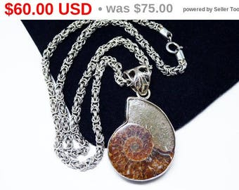 Spring Fling Sale Snail Fossil Pendant - Choker Necklace - Fossilized Ammonite Opalized  - Sterling Silver - Brown Snail - Unisex Natural...