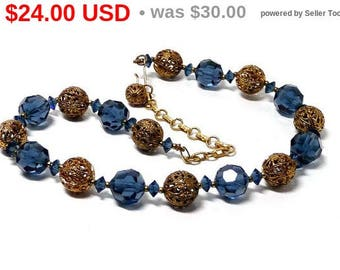 Vintage Blue Bead Necklace with gold tone Filigree Beads