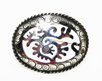Signed Mexican Silver Brooch - Sterling Silver Oval Cut Out Design - Marked 925 Taxco Mexico FC and Eagle Mark 3  - Vintage 1960's 1970s