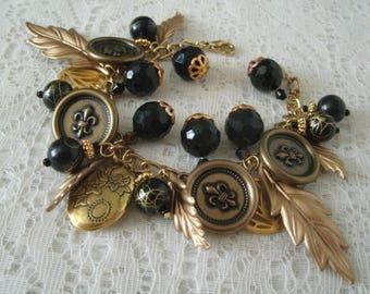 Medieval Charm Bracelet, medieval jewelry renaissance jewelry gothic jewelry victorian jewelry steampunk edwardian neo victorian bracelet